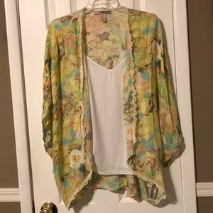 Forever 21 yellow/multi color boho shrug